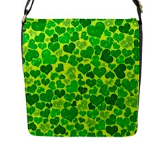 Sparkling Hearts, Green Flap Messenger Bag (l)  by MoreColorsinLife