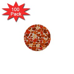 Sparkling Hearts,orange 1  Mini Buttons (100 Pack)