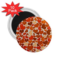 Sparkling Hearts,orange 2 25  Magnets (10 Pack)  by MoreColorsinLife