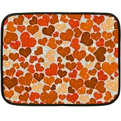 Sparkling Hearts,orange Fleece Blanket (mini) by MoreColorsinLife