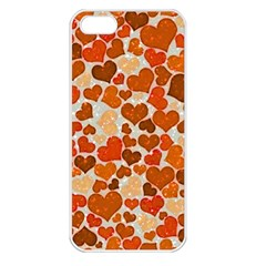 Sparkling Hearts,orange Apple Iphone 5 Seamless Case (white) by MoreColorsinLife