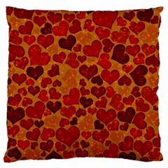 Sparkling Hearts,deep Red Large Cushion Case (one Side) by MoreColorsinLife