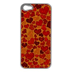 Sparkling Hearts,deep Red Apple Iphone 5 Case (silver) by MoreColorsinLife