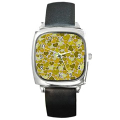 Sparkling Hearts,yellow Square Metal Watch by MoreColorsinLife