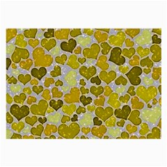 Sparkling Hearts,yellow Large Glasses Cloth (2 Side) by MoreColorsinLife