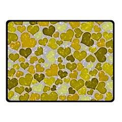Sparkling Hearts,yellow Fleece Blanket (small) by MoreColorsinLife