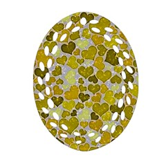 Sparkling Hearts,yellow Ornament (oval Filigree) by MoreColorsinLife