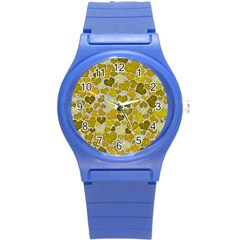 Sparkling Hearts,yellow Round Plastic Sport Watch (s) by MoreColorsinLife