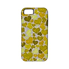 Sparkling Hearts,yellow Apple Iphone 5 Classic Hardshell Case (pc+silicone) by MoreColorsinLife