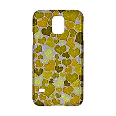 Sparkling Hearts,yellow Samsung Galaxy S5 Hardshell Case
