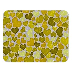Sparkling Hearts,yellow Double Sided Flano Blanket (large)  by MoreColorsinLife