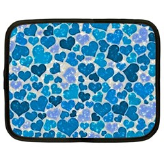 Sparkling Hearts, Teal Netbook Case (large) by MoreColorsinLife