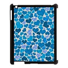 Sparkling Hearts, Teal Apple Ipad 3/4 Case (black) by MoreColorsinLife