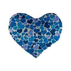 Sparkling Hearts, Teal Standard 16  Premium Flano Heart Shape Cushions by MoreColorsinLife