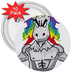 Angry Unicorn 3  Buttons (10 Pack)  by KAllan