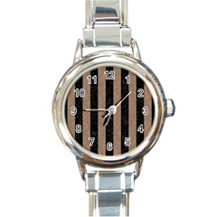 Stripes1 Black Marble & Brown Colored Pencil Round Italian Charm Watch by trendistuff