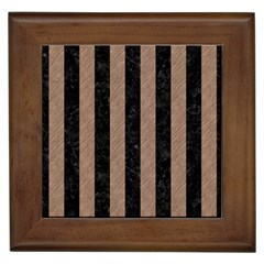 Stripes1 Black Marble & Brown Colored Pencil Framed Tile by trendistuff
