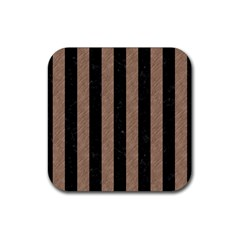 Stripes1 Black Marble & Brown Colored Pencil Rubber Square Coaster (4 Pack) by trendistuff