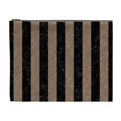Stripes1 Black Marble & Brown Colored Pencil Cosmetic Bag (xl) by trendistuff