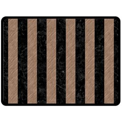 Stripes1 Black Marble & Brown Colored Pencil Double Sided Fleece Blanket (large) by trendistuff