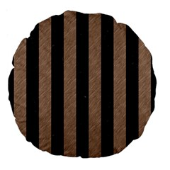 Stripes1 Black Marble & Brown Colored Pencil Large 18  Premium Flano Round Cushion  by trendistuff