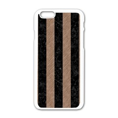 Stripes1 Black Marble & Brown Colored Pencil Apple Iphone 6/6s White Enamel Case