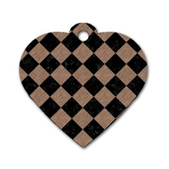 Square2 Black Marble & Brown Colored Pencil Dog Tag Heart (one Side) by trendistuff