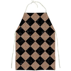 Square2 Black Marble & Brown Colored Pencil Full Print Apron by trendistuff