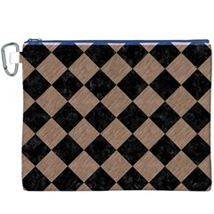 Square2 Black Marble & Brown Colored Pencil Canvas Cosmetic Bag (xxxl) by trendistuff