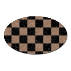 Square1 Black Marble & Brown Colored Pencil Magnet (oval) by trendistuff