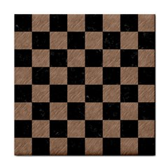 Square1 Black Marble & Brown Colored Pencil Face Towel by trendistuff