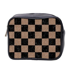 Square1 Black Marble & Brown Colored Pencil Mini Toiletries Bag (two Sides) by trendistuff