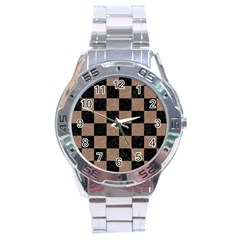 Square1 Black Marble & Brown Colored Pencil Stainless Steel Analogue Watch by trendistuff