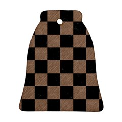 Square1 Black Marble & Brown Colored Pencil Ornament (bell) by trendistuff