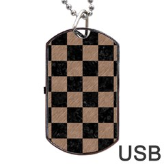 Square1 Black Marble & Brown Colored Pencil Dog Tag Usb Flash (two Sides) by trendistuff