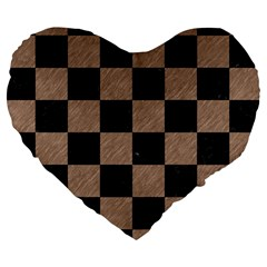 Square1 Black Marble & Brown Colored Pencil Large 19  Premium Heart Shape Cushion by trendistuff
