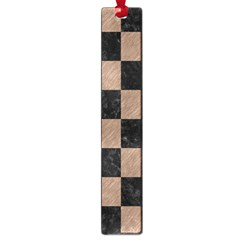 Square1 Black Marble & Brown Colored Pencil Large Book Mark by trendistuff