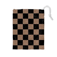 Square1 Black Marble & Brown Colored Pencil Drawstring Pouch (large) by trendistuff