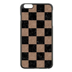 Square1 Black Marble & Brown Colored Pencil Apple Iphone 6 Plus/6s Plus Black Enamel Case by trendistuff
