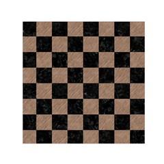 Square1 Black Marble & Brown Colored Pencil Small Satin Scarf (square) by trendistuff