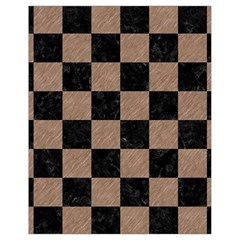 Square1 Black Marble & Brown Colored Pencil Drawstring Bag (small) by trendistuff
