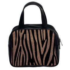 Skin4 Black Marble & Brown Colored Pencil (r) Classic Handbag (two Sides) by trendistuff