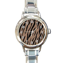 Skin3 Black Marble & Brown Colored Pencil (r) Round Italian Charm Watch by trendistuff
