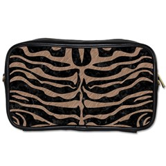 Skin2 Black Marble & Brown Colored Pencil Toiletries Bag (two Sides) by trendistuff