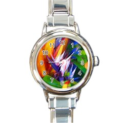 Palms02 Round Italian Charm Watch by psweetsdesign