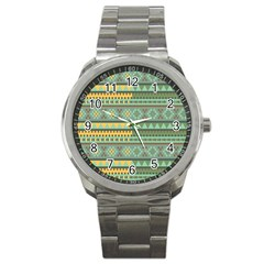 Bezold Effect Traditional Medium Dimensional Symmetrical Different Similar Shapes Triangle Green Yel Sport Metal Watch by Mariart