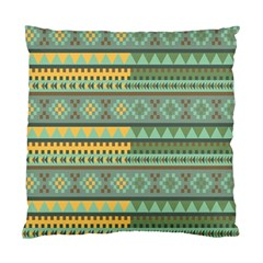 Bezold Effect Traditional Medium Dimensional Symmetrical Different Similar Shapes Triangle Green Yel Standard Cushion Case (one Side) by Mariart