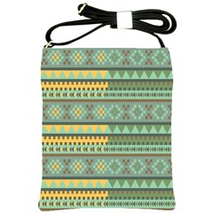 Bezold Effect Traditional Medium Dimensional Symmetrical Different Similar Shapes Triangle Green Yel Shoulder Sling Bags by Mariart