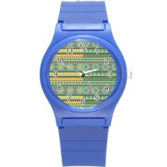 Bezold Effect Traditional Medium Dimensional Symmetrical Different Similar Shapes Triangle Green Yel Round Plastic Sport Watch (s) by Mariart