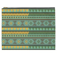 Bezold Effect Traditional Medium Dimensional Symmetrical Different Similar Shapes Triangle Green Yel Cosmetic Bag (xxxl)  by Mariart